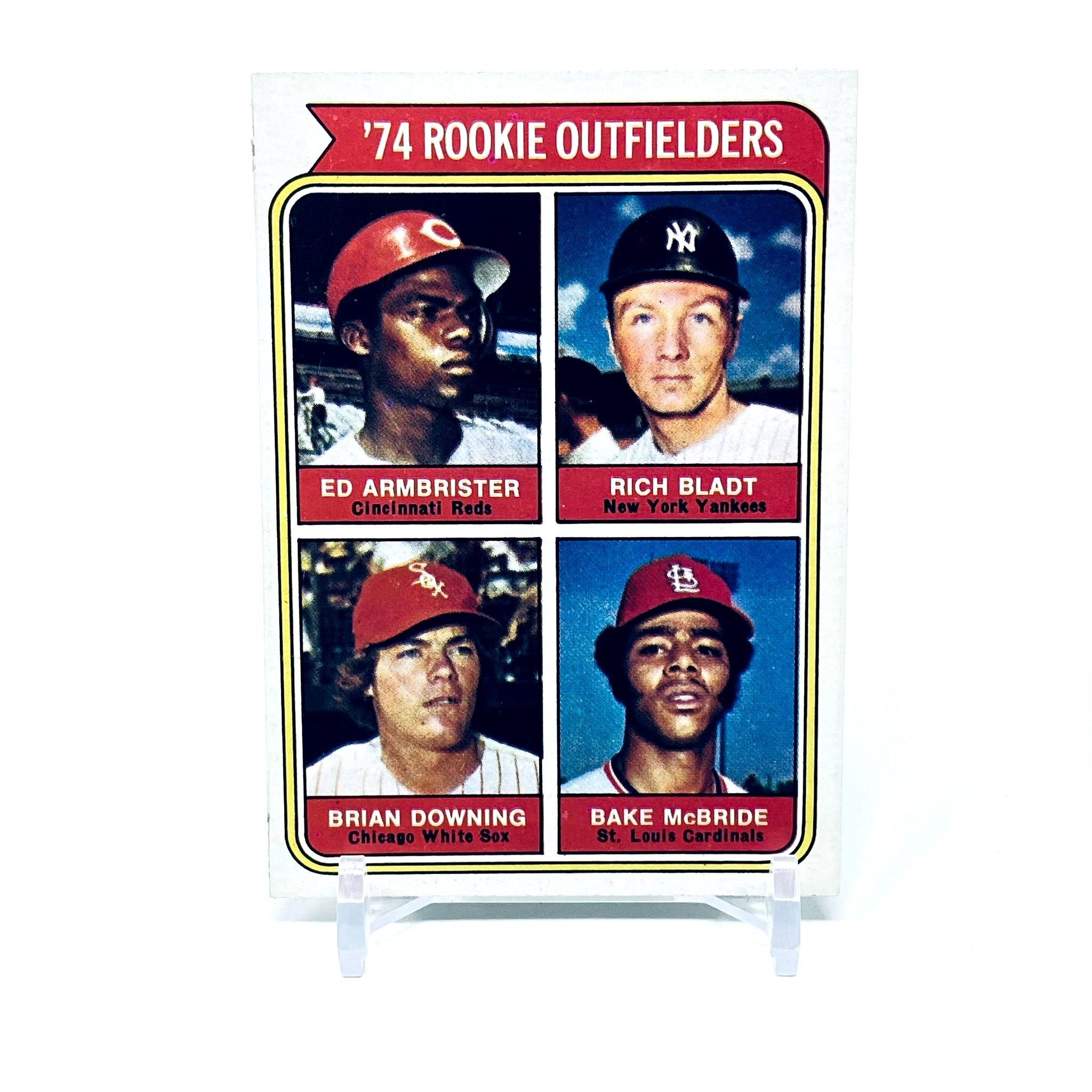 1974 Topps Downing, Armbrister, Bladt, McBride Rookie Outfielders