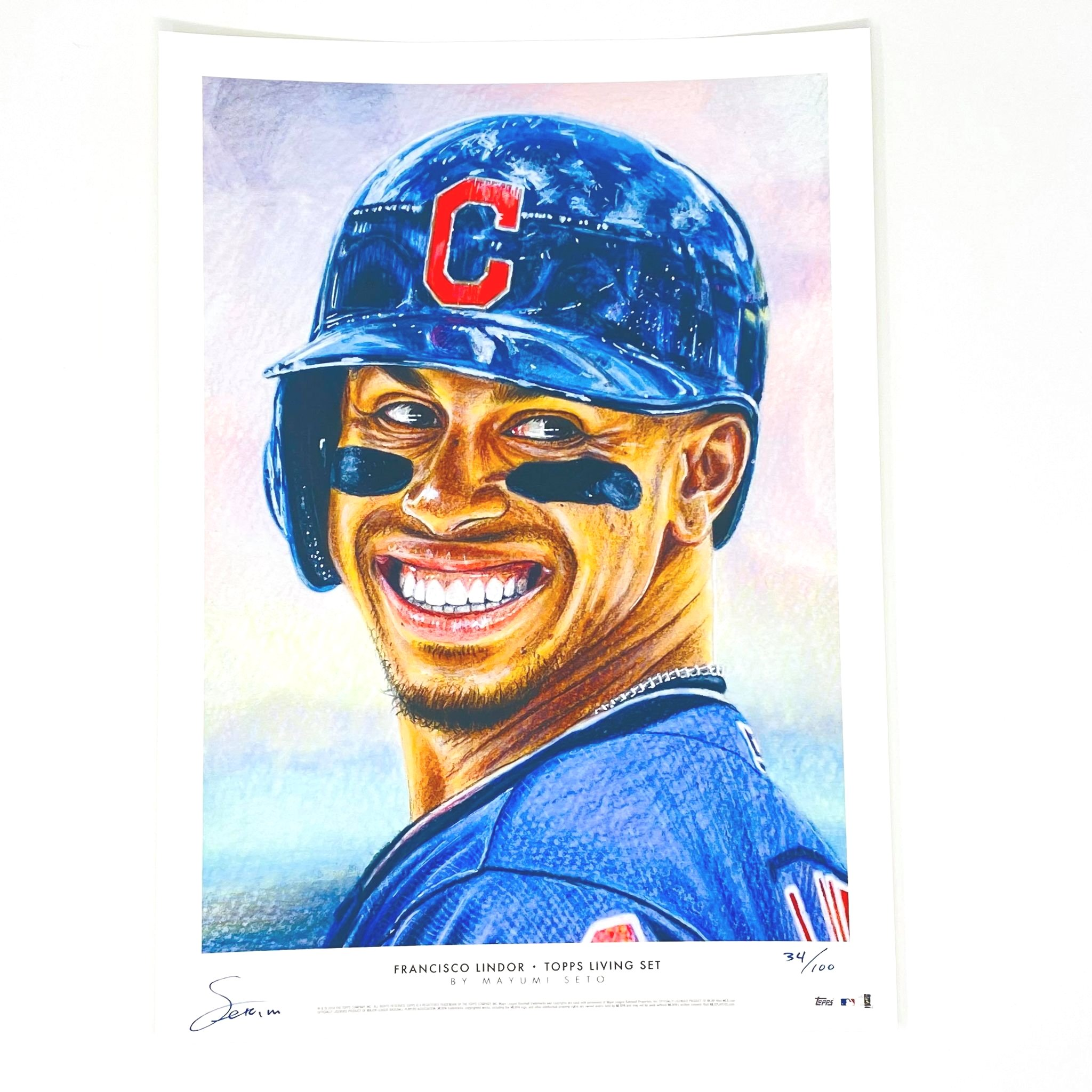 2018 Topps Living Set  Francisco Lindor Art Print #34/100 Cleveland Indians